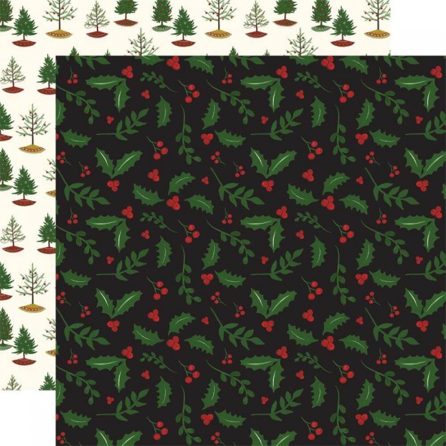 Papel Estampado Doble Cara 12x12 Here Comes Santa Claus Holly Berry