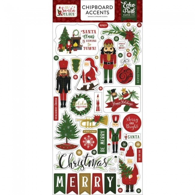 Chipboard 6x13 Here Comes Santa Claus Accents