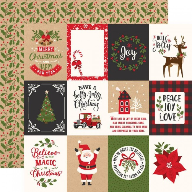 Papel Estampado Doble Cara 12x12 My Favorite Christmas 3x4 Journaling Cards