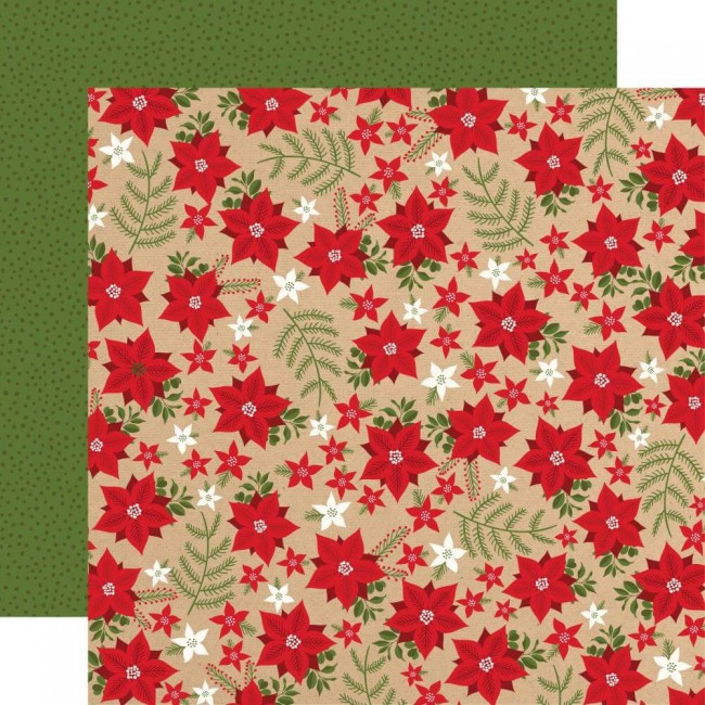 Papel Estampado Doble Cara 12x12 My Favorite Christmas Holiday Floral