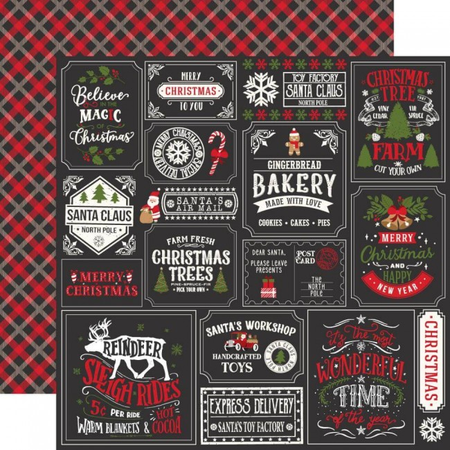 Papel Estampado Doble Cara 12x12 My Favorite Christmas Christmas Squares