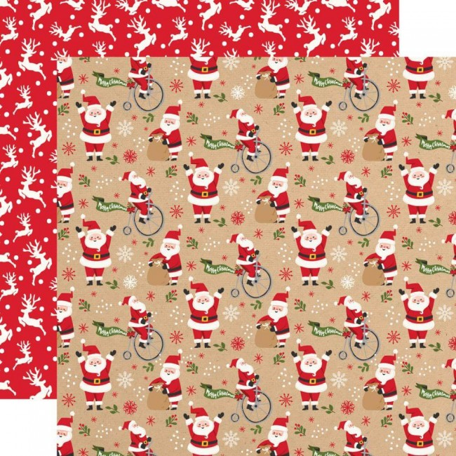 Papel Estampado Doble Cara 12x12 My Favorite Christmas Jolly Santa