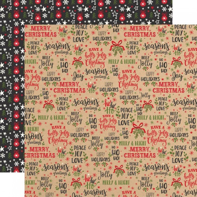 Papel Estampado Doble Cara 12x12 My Favorite Christmas Season's Greetings