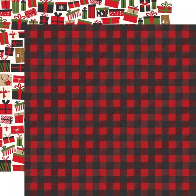 Papel Estampado Doble Cara 12x12 My Favorite Christmas Winter Flannel