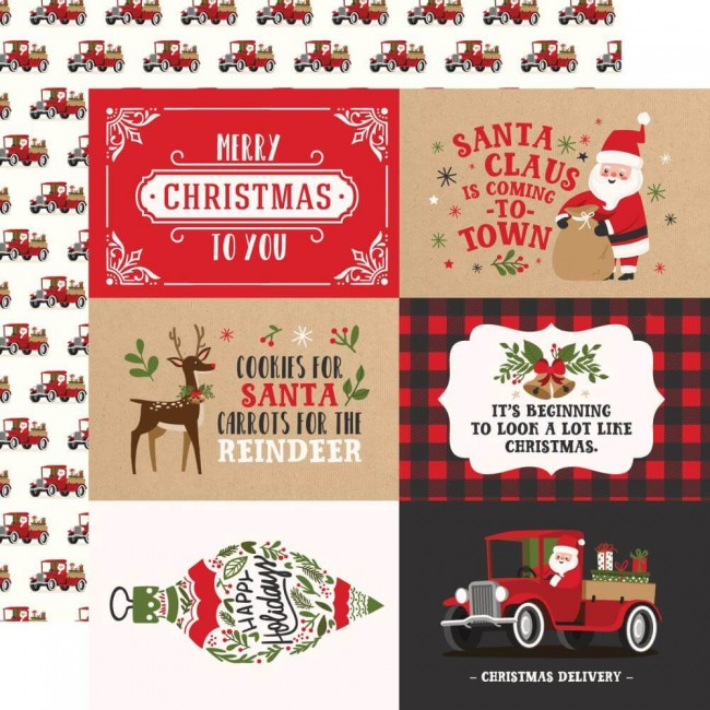 Papel Estampado Doble Cara 12x12 My Favorite Christmas 4x6 Journaling Cards