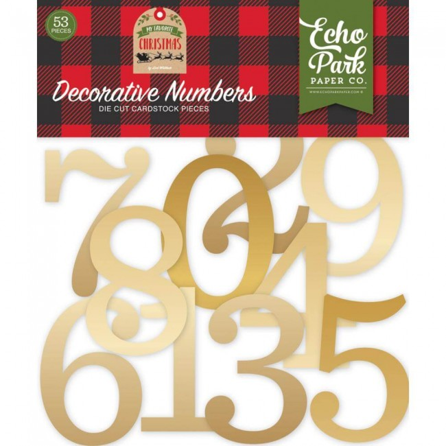 Die Cuts My Favorite Christmas Decorative Numbers Gold Foil