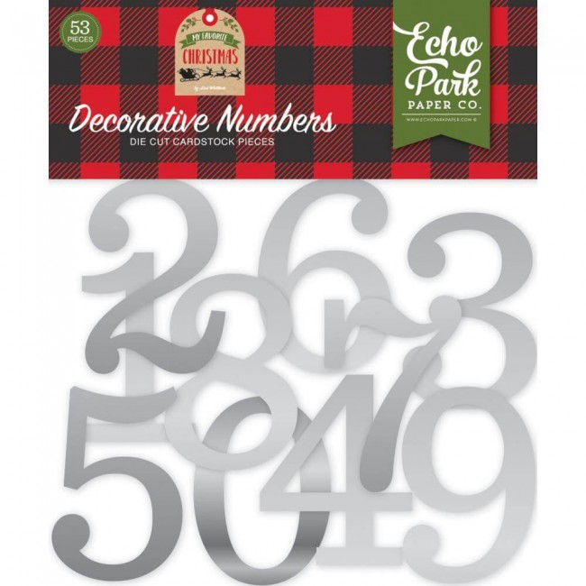 Die Cuts My Favorite Christmas Decorative Numbers Silver Foil