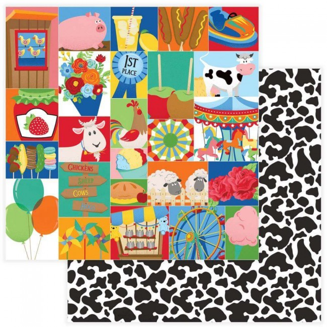 Papel Estampado Doble Cara 12x12 State Fair Midway
