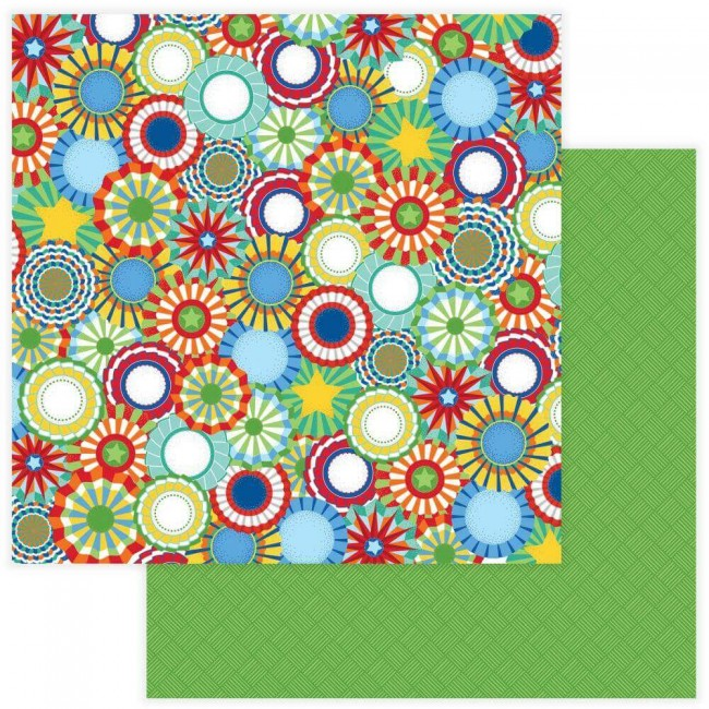 Papel Estampado Doble Cara 12x12 State Fair Rosettes