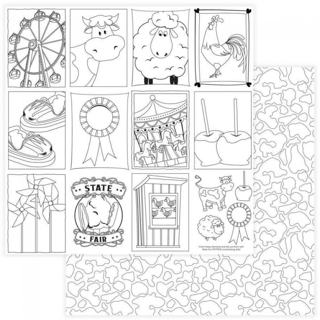Papel Estampado Doble Cara 12x12 State Fair Black & White Color Me Cards