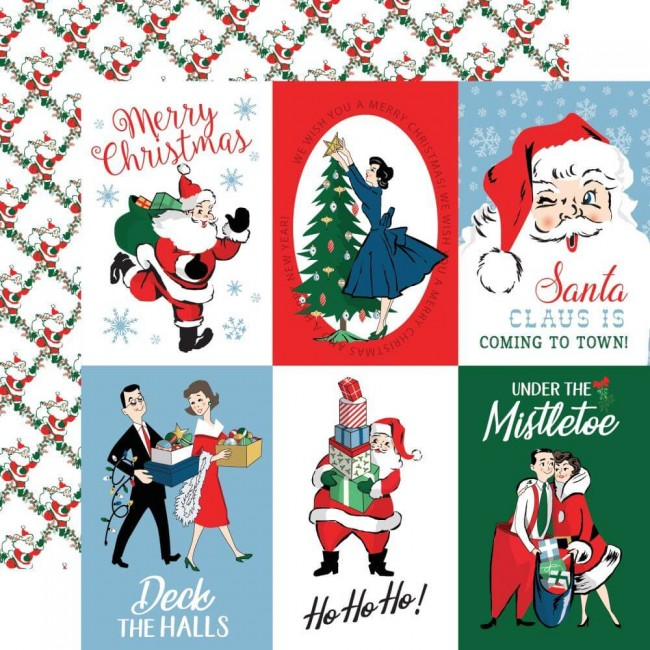 Papel Estampado Doble Cara 12x12 Merry Christmas 4x6 Journaling Cards