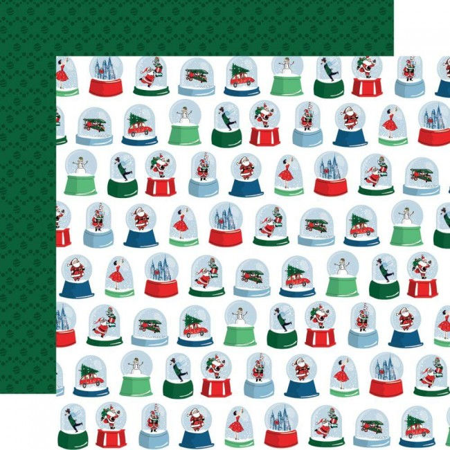 Papel Estampado Doble Cara 12x12 Merry Christmas Snow Globes