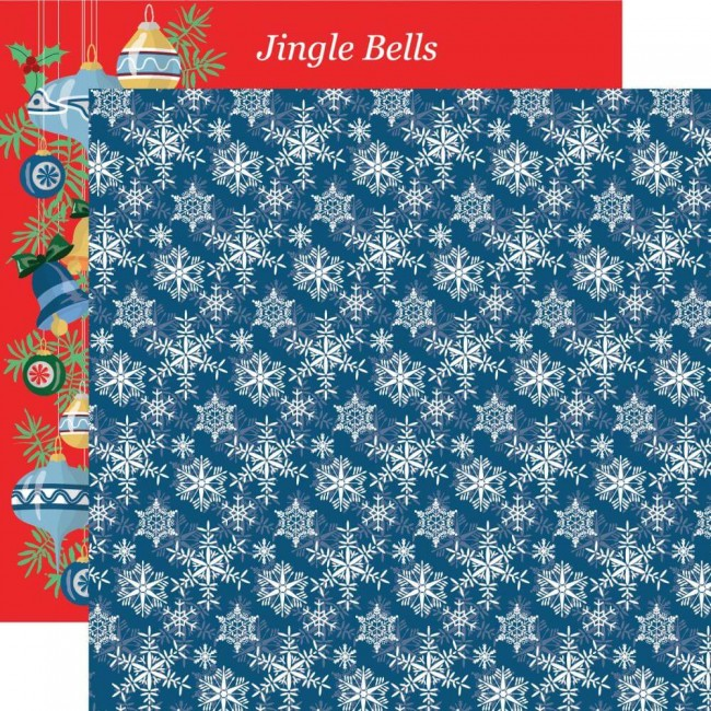 Papel Estampado Doble Cara 12x12 Merry Christmas Snowflakes