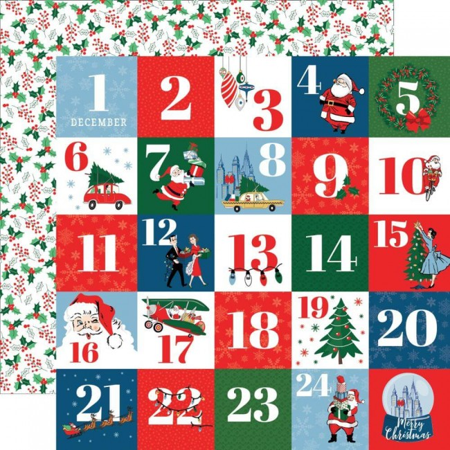 Papel Estampado Doble Cara 12x12 Merry Christmas Countdown To Christmas
