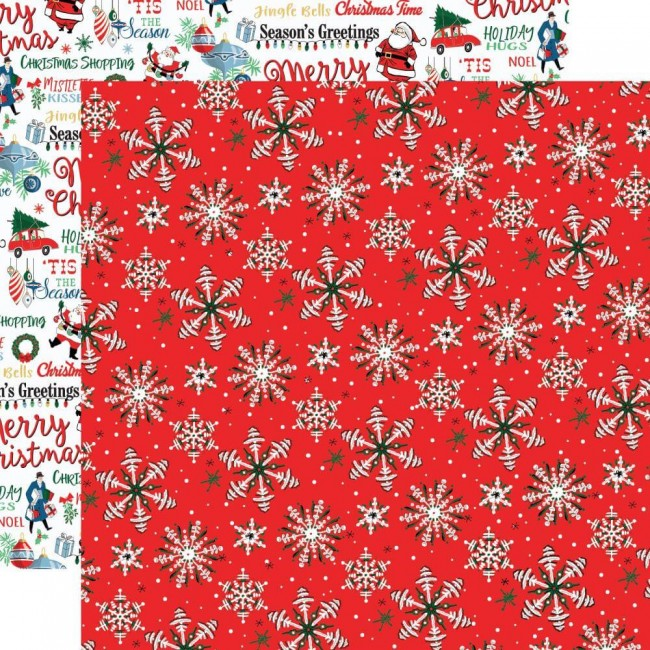Papel Estampado Doble Cara 12x12 Merry Christmas Christmas Snow
