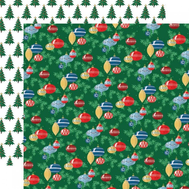 Papel Estampado Doble Cara 12x12 Merry Christmas Ornaments