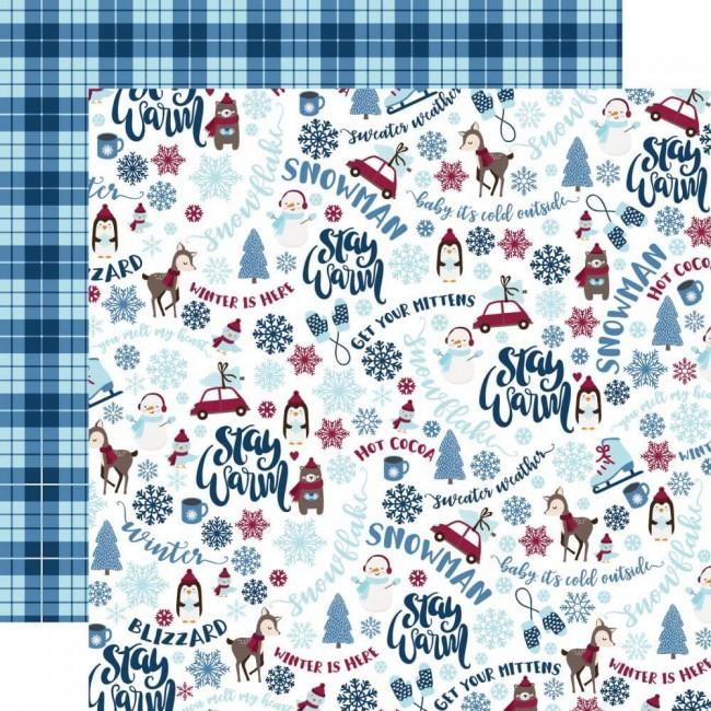 Papel Estampado Doble Cara 12x12 My Favorite Winter Stay Warm