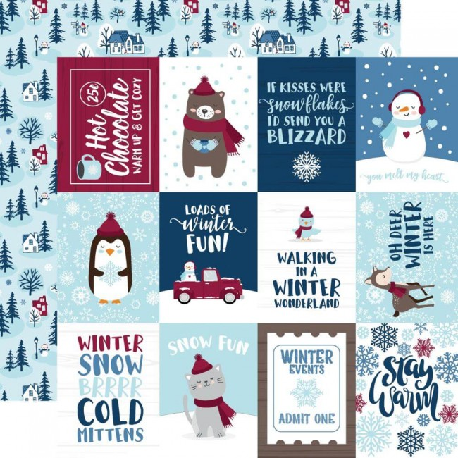 "Papel Estampado Doble Cara 12x12 My Favorite Winter 3""X4"" Journaling Cards"