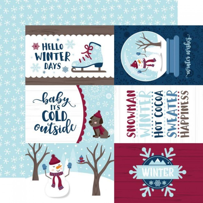 "Papel Estampado Doble Cara 12x12 My Favorite Winter 4""X6"" Journaling Cards"