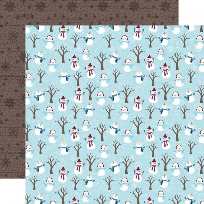 Papel Estampado Doble Cara 12x12 My Favorite Winter Snowman Fun