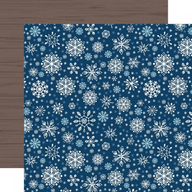Papel Estampado Doble Cara 12x12 My Favorite Winter Sparkling Snowflakes