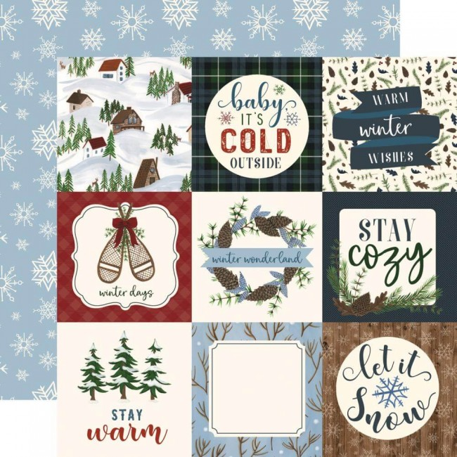 "Papel Estampado Doble Cara 12x12 Warm & Cozy 4""X4"" Journaling Cards"