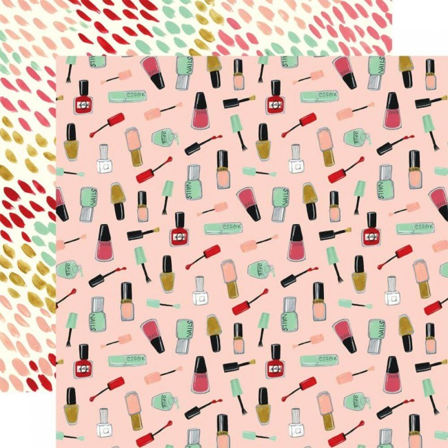 Papel Estampado Doble Cara 12x12 Salon Nail Polish