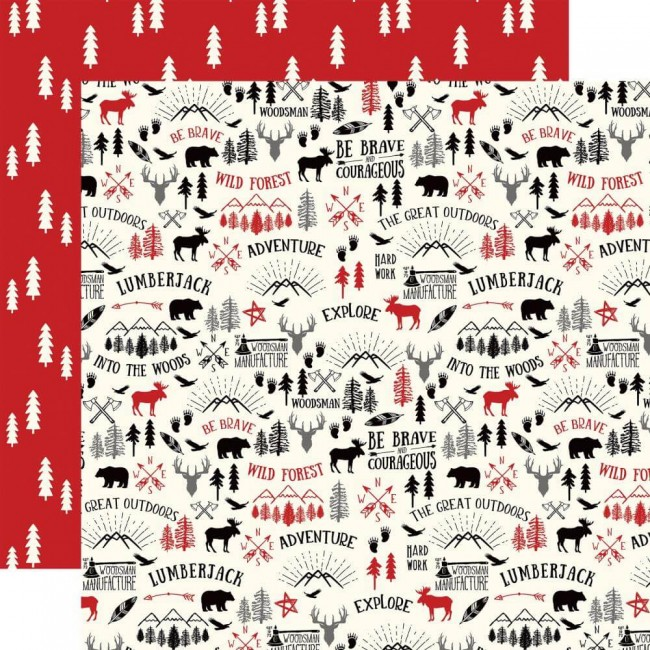 Papel Estampado Doble Cara 12x12 Little Lumberjack Great Outdoors