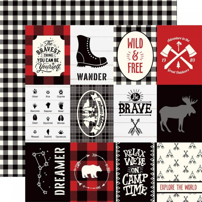 Papel Estampado Doble Cara 12x12 Little Lumberjack 3x4 Journaling Cards