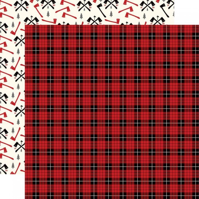 Papel Estampado Doble Cara 12x12 Little Lumberjack Lumberjack Plaid