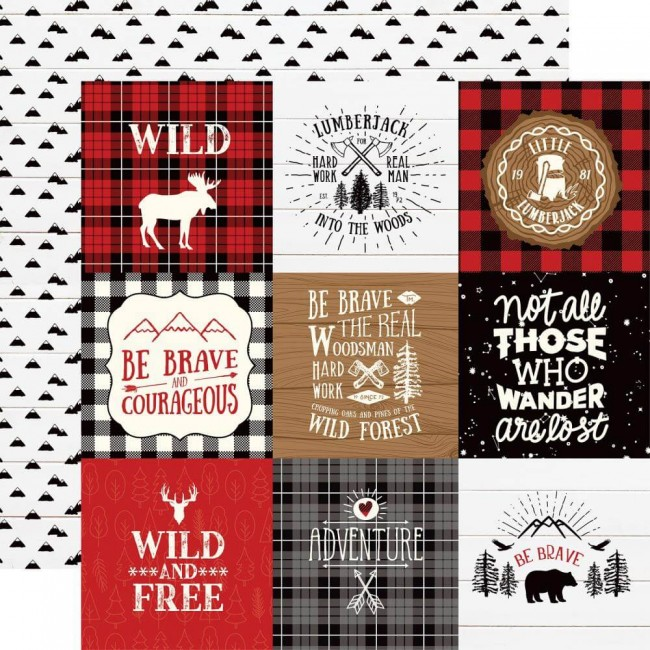Papel Estampado Doble Cara 12x12 Little Lumberjack 4x4 Journaling Cards