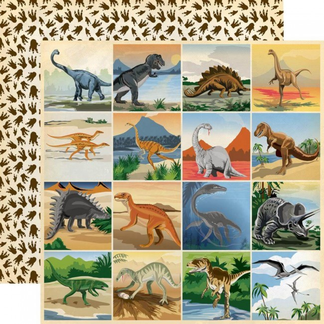 Papel Estampado Doble Cara 12x12 Dinosaurs 3x3 Journaling Cards