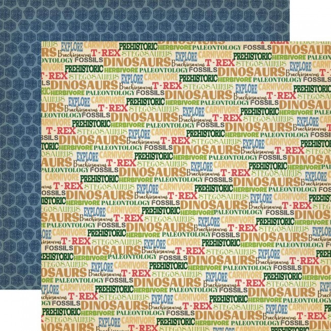 Papel Estampado Doble Cara 12x12 Dinosaurs Dinos Rule