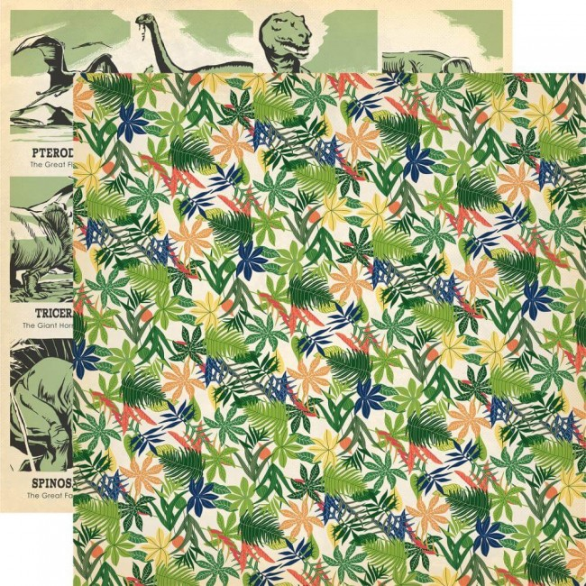 Papel Estampado Doble Cara 12x12 Dinosaurs Jungle Palms