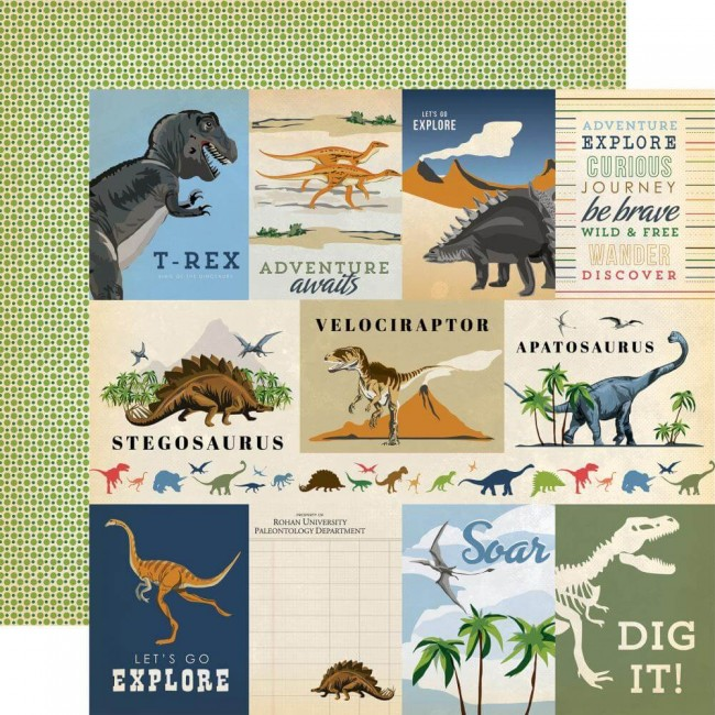 Papel Estampado Doble Cara 12x12 Dinosaurs 3x4 Journaling Cards