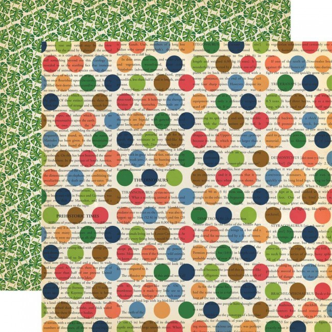 Papel Estampado Doble Cara 12x12 Dinosaurs Dino Dot