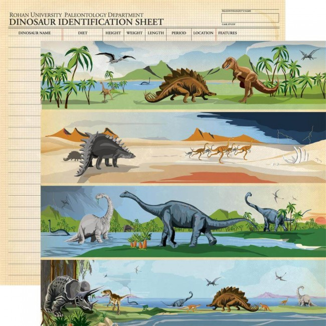 Papel Estampado Doble Cara 12x12 Dinosaurs Border Strips