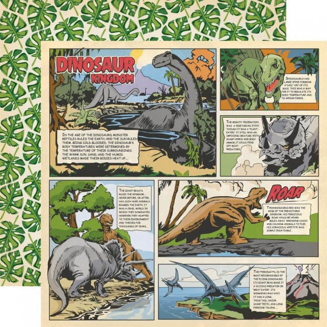 Papel Estampado Doble Cara 12x12 Dinosaurs Dino Comic Strip