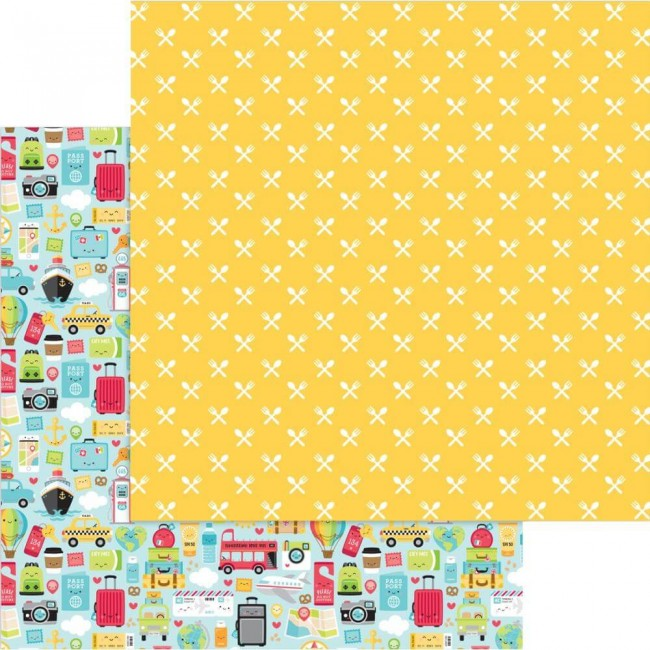 Papel Estampado Doble Cara 12x12 I Heart Travel I Heart Travel