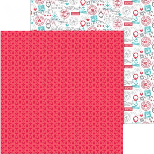 Papel Estampado Doble Cara 12x12 I Heart Travel Love This