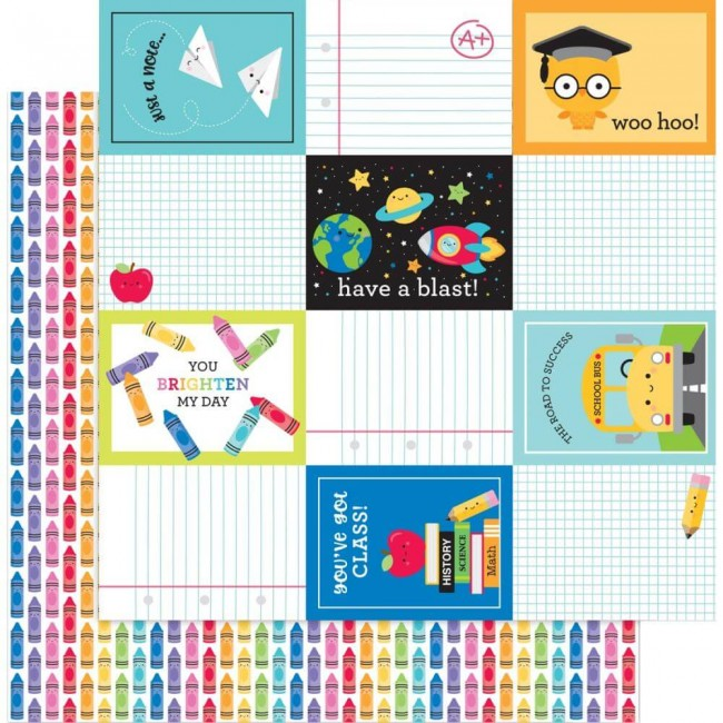 Papel Estampado Doble Cara 12x12 School Days Color Me Happy