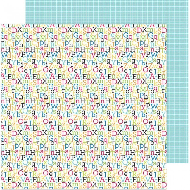 Papel Estampado Doble Cara 12x12 School Days Spelling Bee