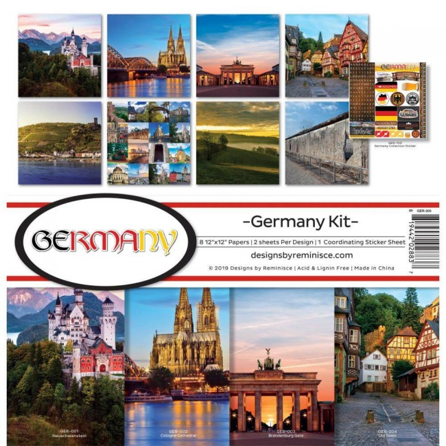 Kit Papeles Estampados 12x12 Germany