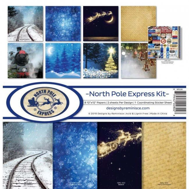Kit Papeles Estampados 12x12 North Pole Express