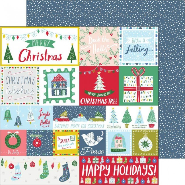 Papel Estampado Doble Cara 12x12 Home For The Holidays Happy Holidays
