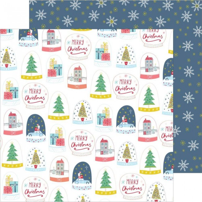 Papel Estampado Doble Cara 12x12 Home For The Holidays Snow Globes