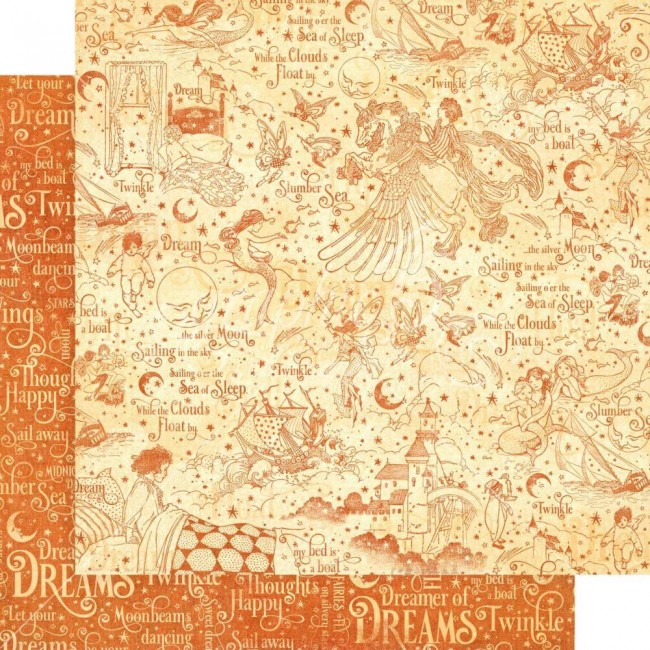 Papel Estampado Doble Cara 12x12 Dreamland Slumber Sea