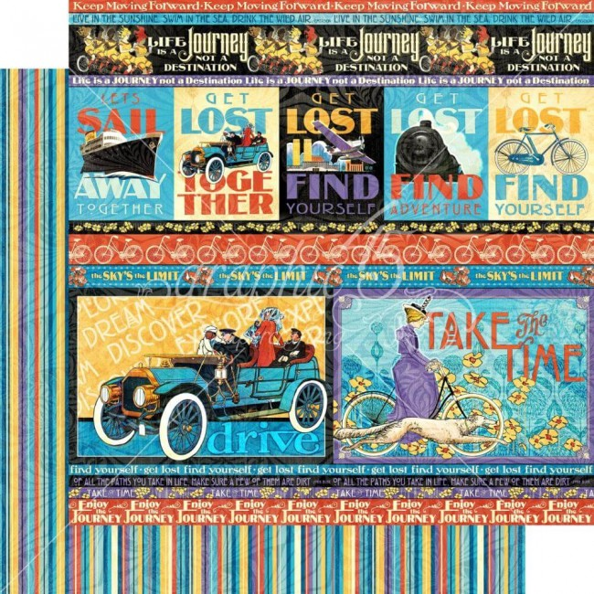 Papel Estampado Doble Cara 12x12 Life's a Journey Get Lost