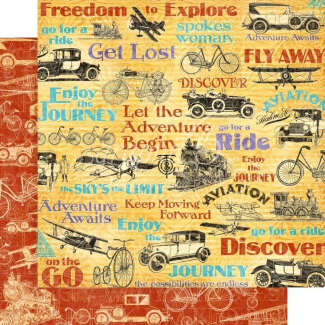 Papel Estampado Doble Cara 12x12 Life's a Journey Fly Away