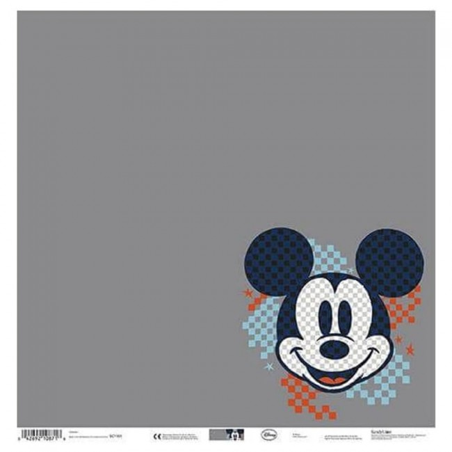 Papel Estampado Una Cara 12x12 Mickey Gray Grid